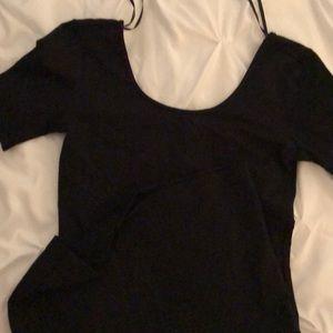 Black scoop neck cotton dress